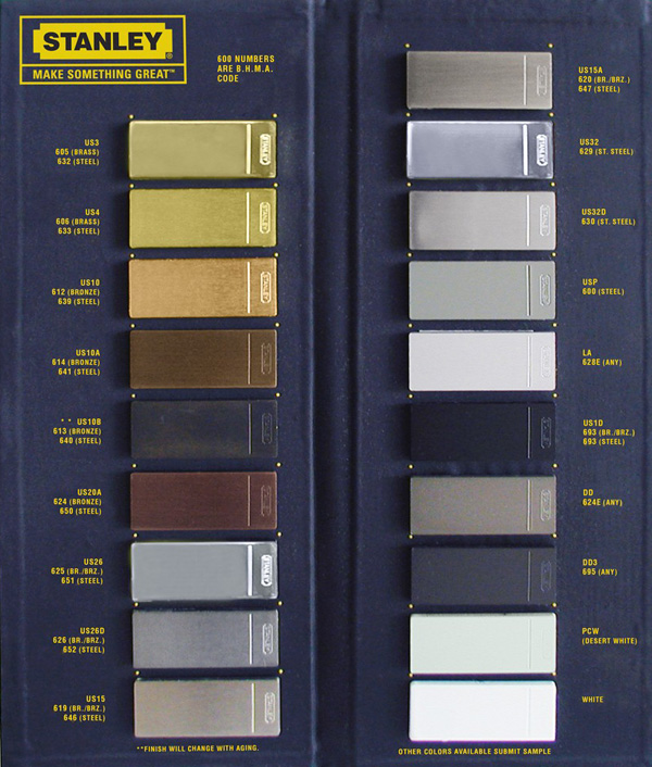 Architectural Hardware Finish Chart References